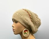 MADE TO ORDER Tan slouch hat/Dreadlock hat with rasta stripes/drawstring Red Gold Green/ free Africa crochet earrings/detachable flower clip