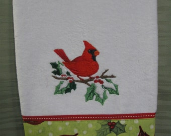 Handmade embroidered Cardinal hand towel
