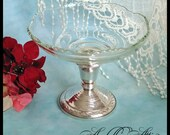 Vintage Dual Purpose Glass Candy Dish & Sterling Silver Candle Holder / Retro Compote Server Pedestal Candleholder / Tea Party Bridal Shower