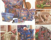 Womens Quilted Bags and Eyeglasses Case Simplicity Crafts Sewing Pattern 7098 UnCut Quilted Tote Bags Fabric Totes