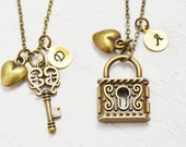 best friend necklace, heart jewelry, key lock, matching necklace, skeleton key, custom initial, birthday, long distance relationship gift