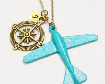 personalized airplane necklace, aviation pilot gift, best friend jewelry, compass gift, travel necklace, initial necklace, rustic plane gift