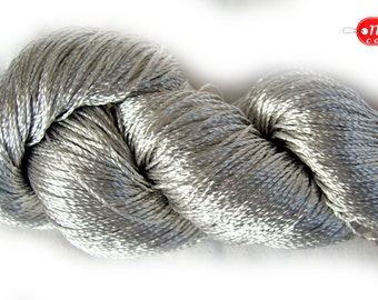 "Viscose Silk Yarn: Shining, Superfine / Lace weight, bright crochet yarn, color silver gray / grey (129). Yarn ""ajur"". S"
