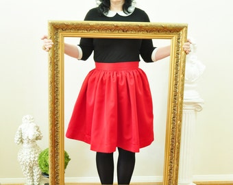 Red Satin Skirt full gathered skirt Custom made also in plus size