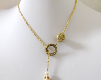 Skull Lariat Necklace White Gold Day of the Dead Rose Jewelry