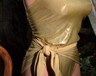 Small Bathing Suit Metallic Gold Wrap Around Swimsuit Petite One Wrap Womens and Teens Fashion Unique Swimwear Maillot de Bain Body Suit