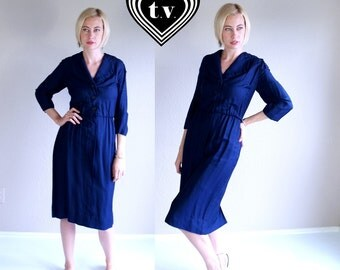 vtg 50s dark blue PINUP fitted MADMEN DRESS Extra Large pencil retro mod plus size