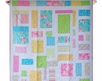 Quilt Kid baby girl crib bedding - Fairy - Pink, blue, white and yellow - Ready to ship