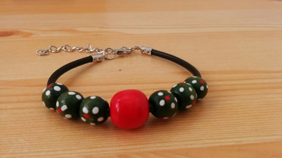 Leather bracelet, wood bracelet, wood beads, green and red cuff, wood beads cuff, polka dot bracelet, green cuff, red wood bead, beaded cuff