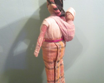 Primitive Burlap Twig Doll / Folk Papoose Doll / Basket Doll Vintage Rare