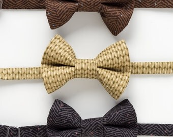 Boys Bow Ties - Herringbone or Knit - Ring Bearer Bow Ties