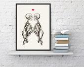 Skeleton Couple - Love Print - Anatomy Art  - Anatomy Art -skeletons love poster WSK037