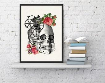Wall art Human skull with roses Print Giclee prints wall art-Skull and roses prints wall decor art  dorm gift SKA004WA4