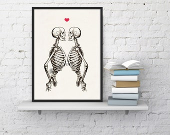 Summer Sale Skeleton Couple - Love Print - Anatomy Art  - Anatomy Art -skeletons love poster SKA003WA4
