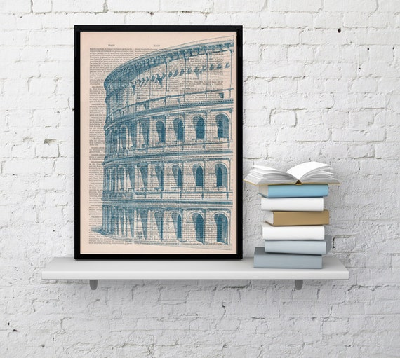 Art print Rome Colosseo detail Print on Vintage Book sheet. Wall art European city wall hanging, decor Rome print, building art BPTV042