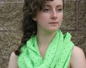 Neon Green Infinity Scarf for Women Lightweight Gauze Green and Black Polka Dot Scarf OOAK Gifts for Women
