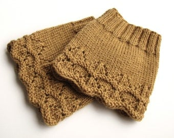 Hand Knitted Openwork Boot Cuffs - Boot Toppers, Leg Warmers - Natural Wool - Dark Sandy - Cozy Gift
