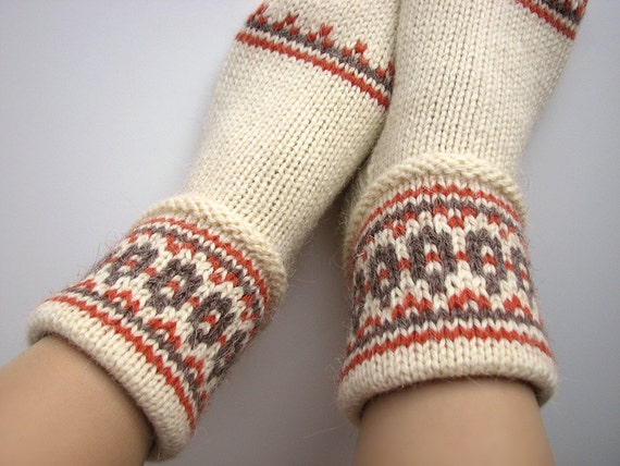 Hand Knitted Women's Patterned Socks - 100% Natural Wool