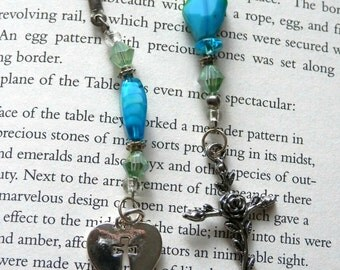 Rose Cross with Teal and Lime Beaded BookMark