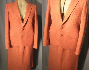 1970s Vintage Women's Orange and Gold Wool Tweed Fully Lined Suit  / 70s Working Girl Jacket and Slight A Line Skirt
