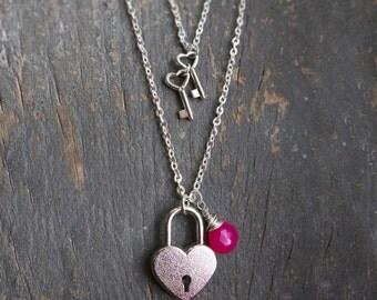 Layered Necklace Key to My Heart Locket Pad Lock with Keys Pink Chalcedony