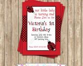 DIY Ladybug  2 Birthday Party  PRINTABLE Invitation 5x7 4x6 red black lady bug