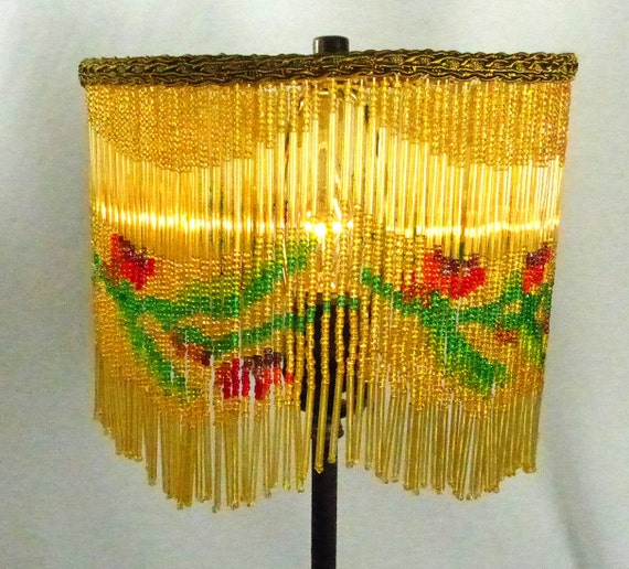 Lamp Shade Fringe Beaded Antique Pair Vintage Handmade Custom