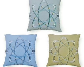 Atom Pillow Set, Green Teal and Blue Science illustration printed pillow set, geek decor, Retro illustration, Velveteen Pillow Cover Only