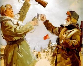 Forward to Victory. There is something to toast to. Soviet poster, soviet propaganda, propaganda, wwii, propaganda, wwii poster, wwii, 1942
