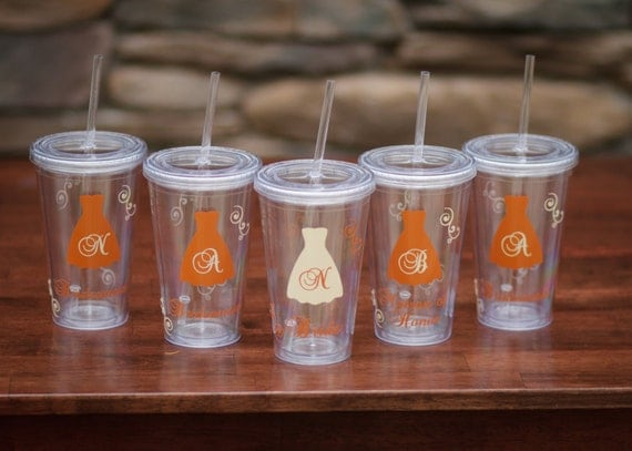 Fall wedding Bridesmaid gift Tumbler, 16 ounce insulated tumblers with lid and straw, acrylic Bridesmaid or Maid of honor. BPA Free acrylic.