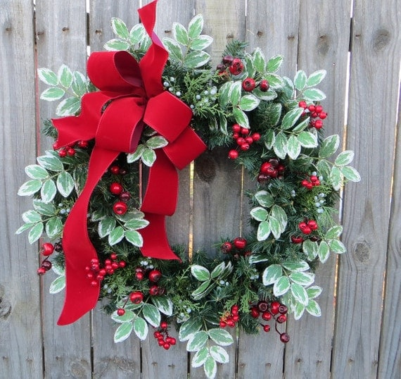 Christmas Wreath Winter Wreath Red Bow Wreath Variegated Greenery Winter Wonderland Berry Wreath