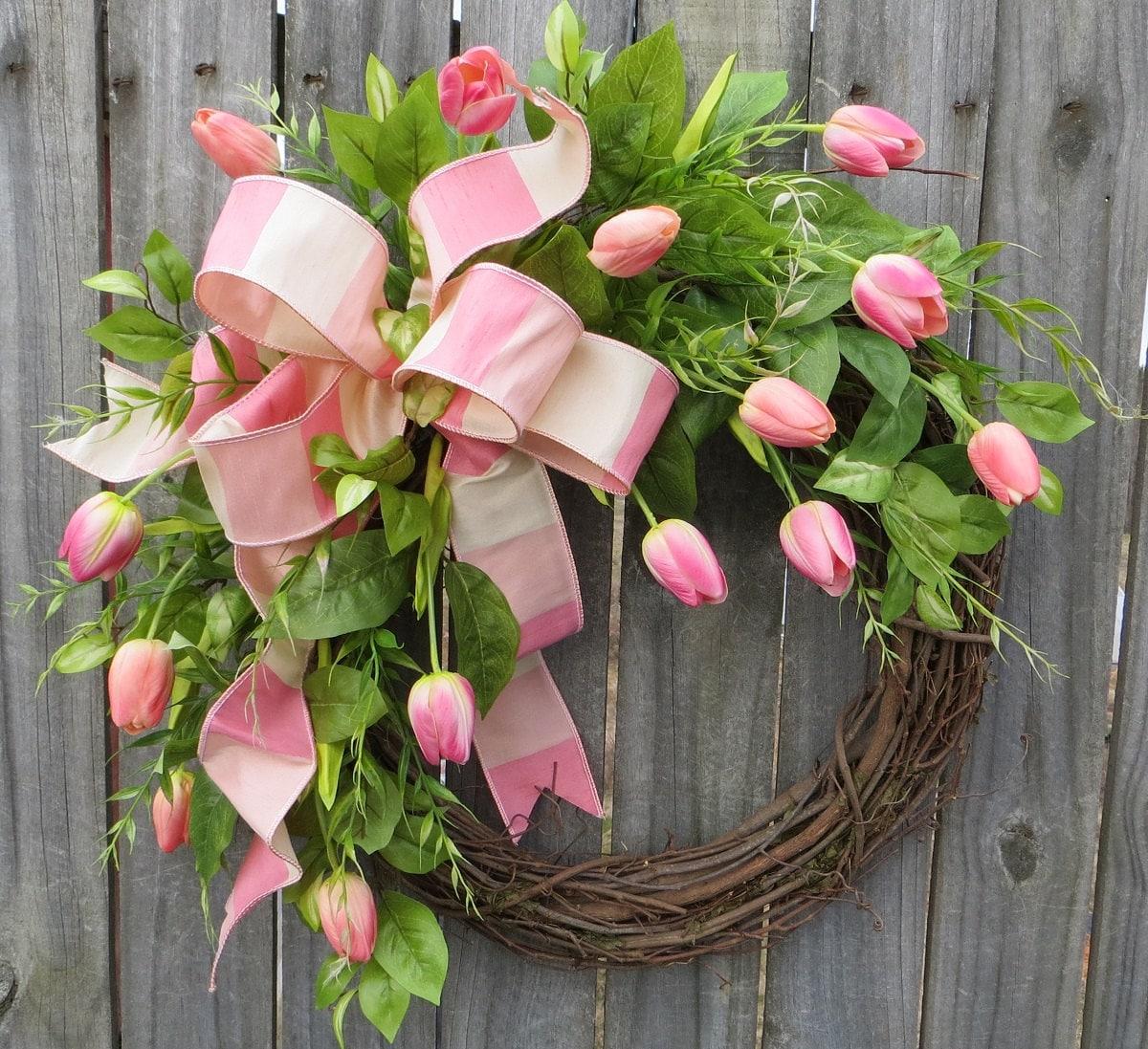 Springtime Wreaths Spring Wreath Wreath Spring Spring Tulip Wreath By
