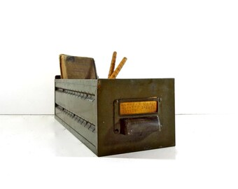Vintage Industrial Green Metal Drawer / Industrial Storage