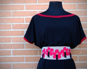 Red Obi, Asian Inspired , Studs Belt,  Japanese, Wide Belt, Womans Fashion, Flower Applique, Fabric Belt