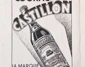Wall Decor Rare 1940s Cognac Advertisement Castillon Cognac Ad Bar Decor Restaurant Decor 1940's Liquor Ad French Paris