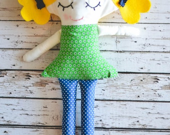 Plush Girl Doll with Blonde Hair