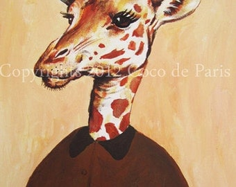 Geek Giraffe Painting, Acrylique painting, large Artwork, Giraffe Decor, Folk Giraffe, Painting on canvas, Gift for Christmas