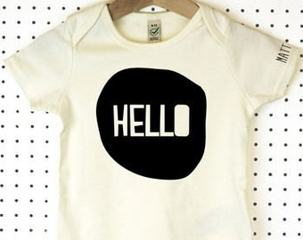 Hello Organic Cotton Baby Grow or Jumpsuit