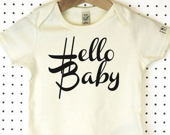 Hello Baby Organic Cotton Baby Grow or Jumpsuit