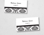 Avery Place Card Template - INSTANT DOWNLOAD - Escort Card - For Word and Pages - Mac and PC - Flat or Folded - Damask Design