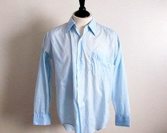 Vintage 40s Airman Shirt, Men's Light Blue Shirt, Long Sleeve Shirt