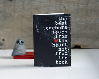 Best Teacher Typography Teacher Thank You Card - The Best Teachers Original Greeting Card Thank You Black - Graduation School Teacher Card