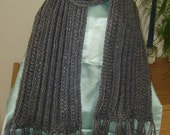 Neck Scarf* - Straight Neck Scarf - Fringed Neck Scarf - Neck Muffler - Handknit Neck Scarf - Handmade Long Neck Scarf