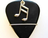 Guitar Pick Charm -Black guitar pick with silver music note