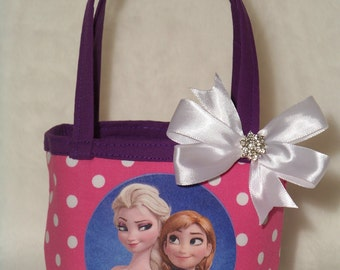 Elsa & Anna Reversible Purse / Disney / Frozen Sisters / Bling Bow / Baby / Girl / Toddler / Handmade / Custom Boutique Clothing