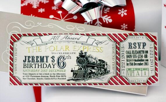 Polar Express Birthday Invitation Red Instant Download
