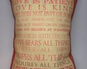 Subway Art Love Is Patient... Burlap Accent Pillow I Cor. 13.4-7 Wedding-Bridal Shower-House Warming-Anniversary