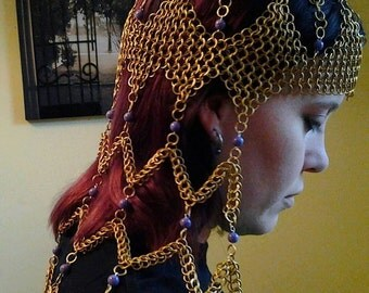 Long  beaded  Chainmail Headdress