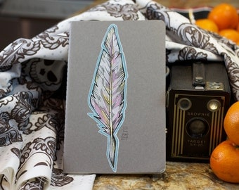Hand Painted Feather on Moleskine Cahier Gridded Journal
