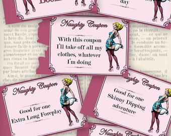 Printable Naughty Coupons Printable Man Gift Printable Woman Gift Erotic Sexy last minute gift instant download digital collage - VDCOVI0997